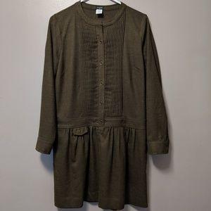 J. Crew Sundrine Olive wool dropwaist dress